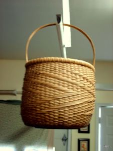 Zig Zag Twill Woven Basket w/Black Walnut Base and Hand Carved Oak Handle